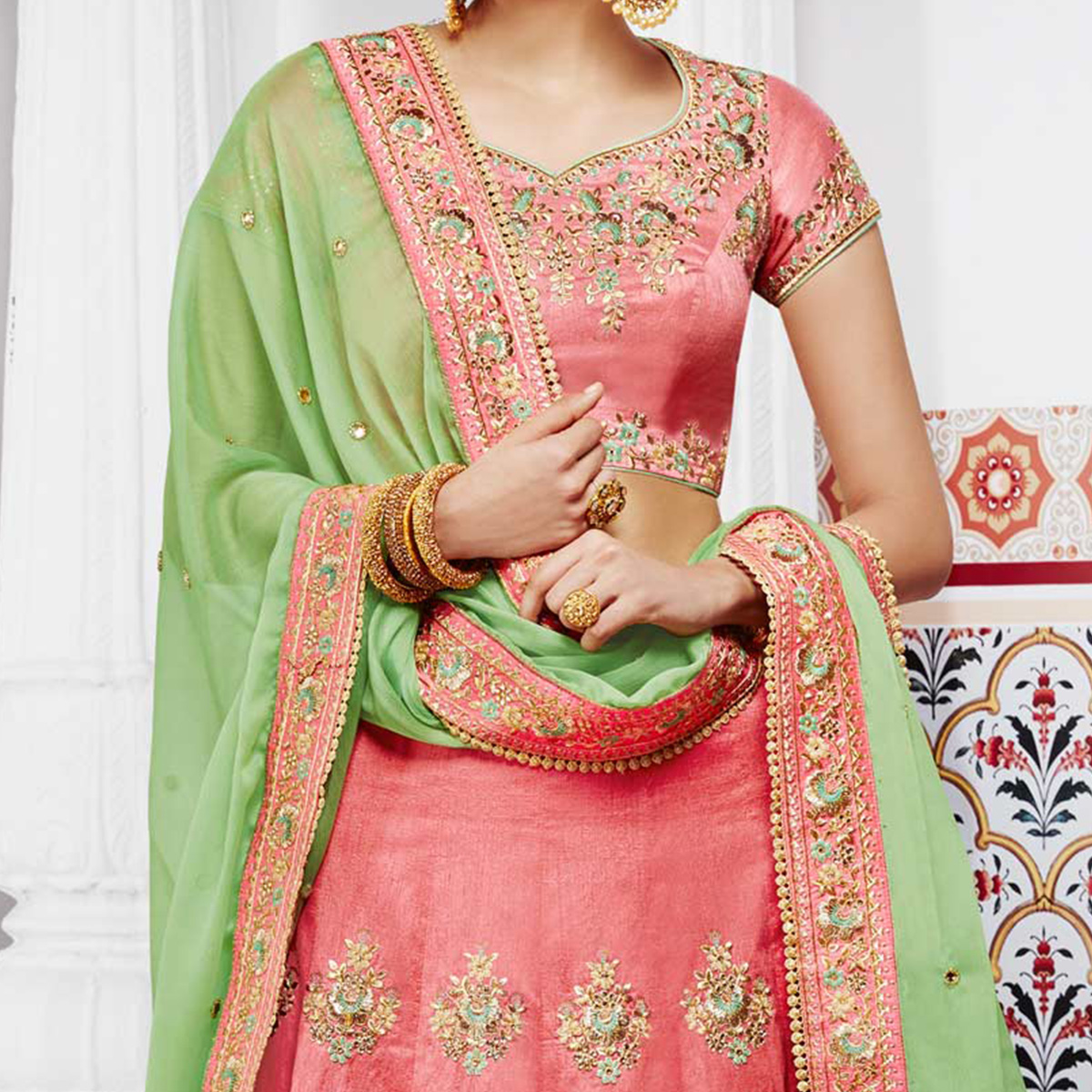 Dazzling Peach And Green Handwoven Silk Designer Lehenga Choli