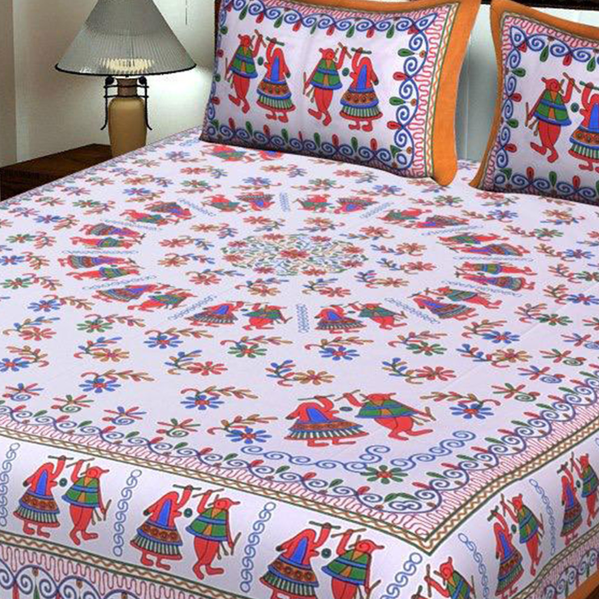 Captivating Orange Colored Print Cotton King Size Bedsheet with 2 Pillow Cover
