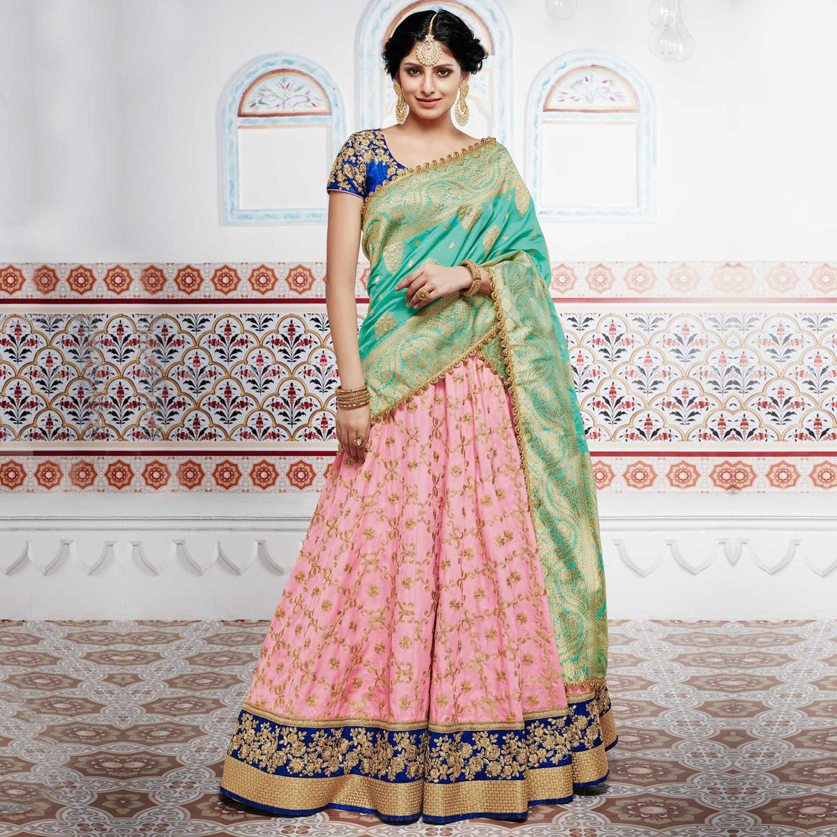 Spectacular Pink And Blue Tussar Silk Designer Lehenga Choli