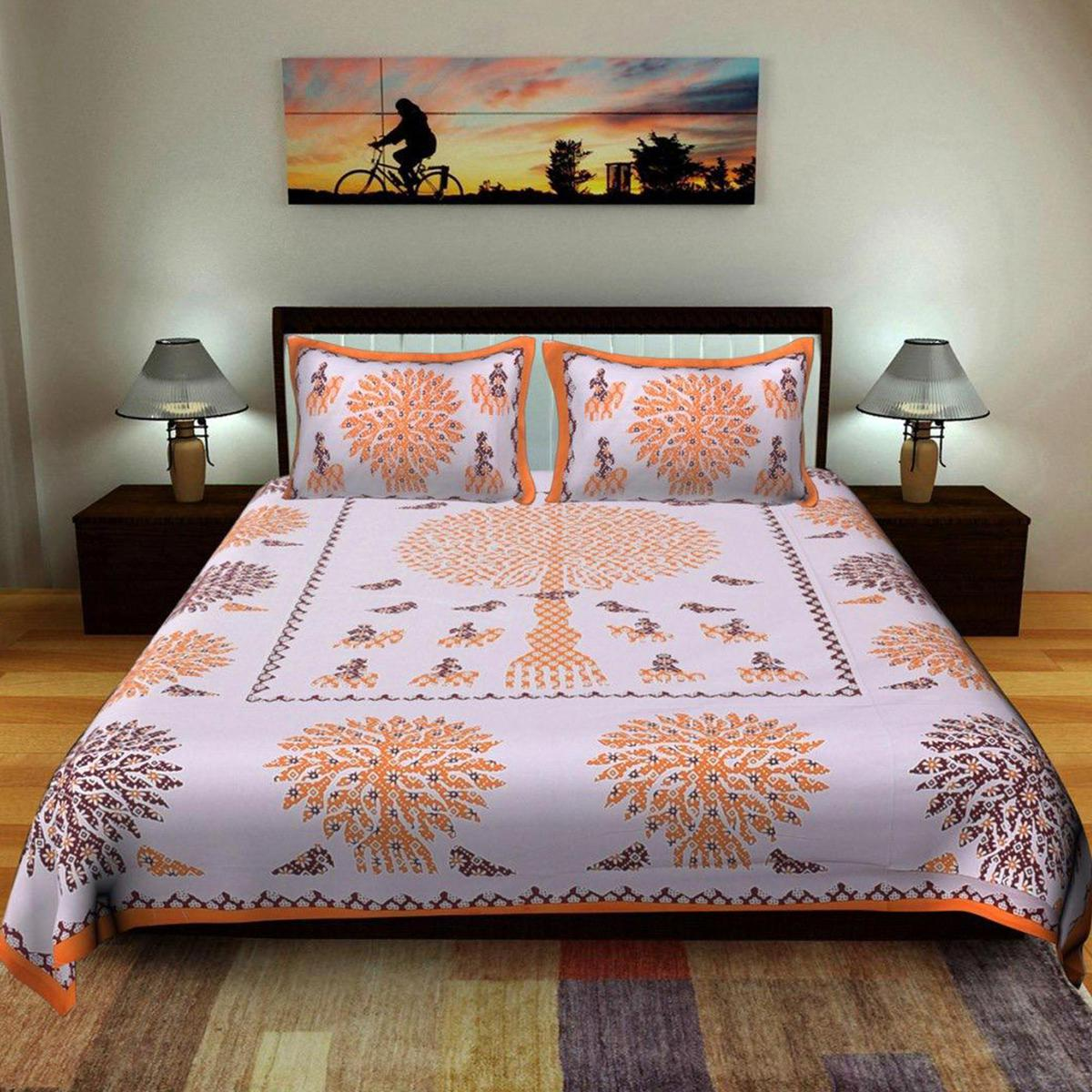 Majesty Orange Colored Print Cotton King Size Bedsheet with 2 Pillow Cover