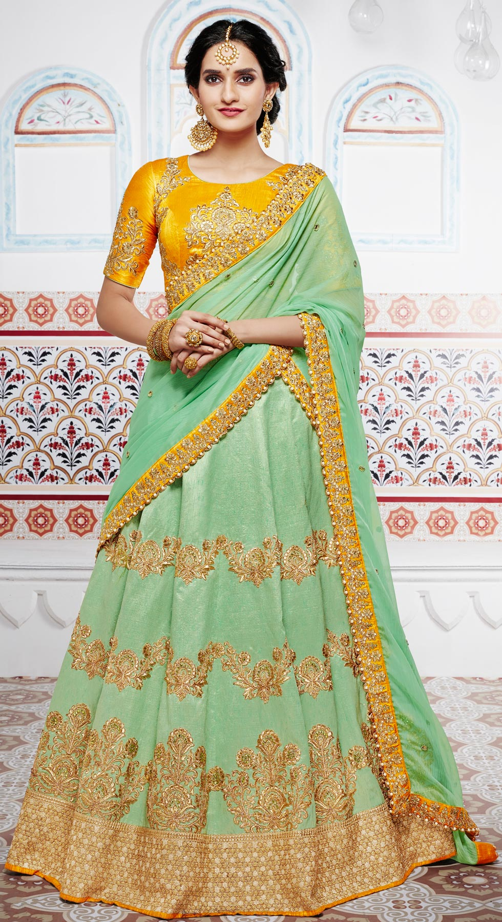 Remarkable Pista Green And Yellow Handwoven Silk Designer Lehenga Choli