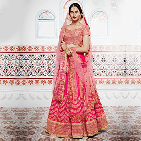 Wonderful Pink Designer Handwoven Silk Lehenga Choli