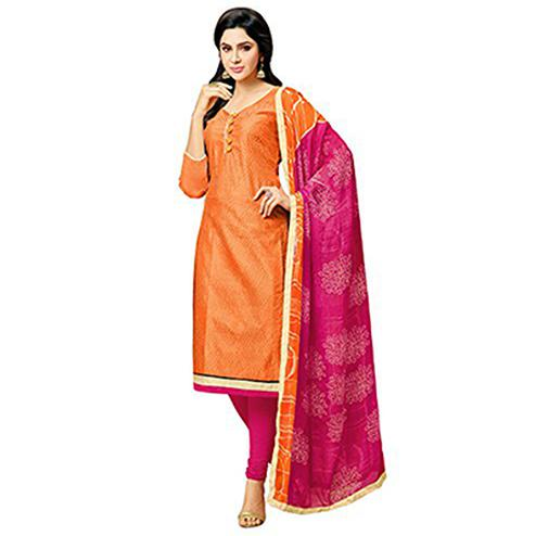 Orange - Pink Unstitched Straight Cut Salwar Suit