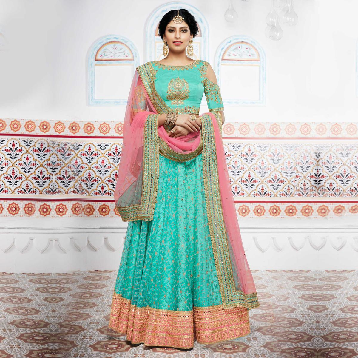 Miraculous Green And Pink Designer Lehenga Choli