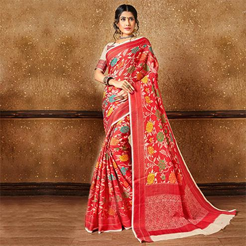 Classic Red Banarasi Silk Woven Saree
