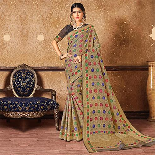 Beautiful Multi Floral Banarasi Silk Woven Saree