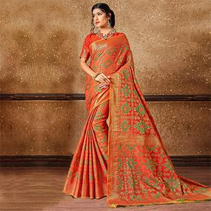 Stunning Orange Banarasi Silk Woven Saree