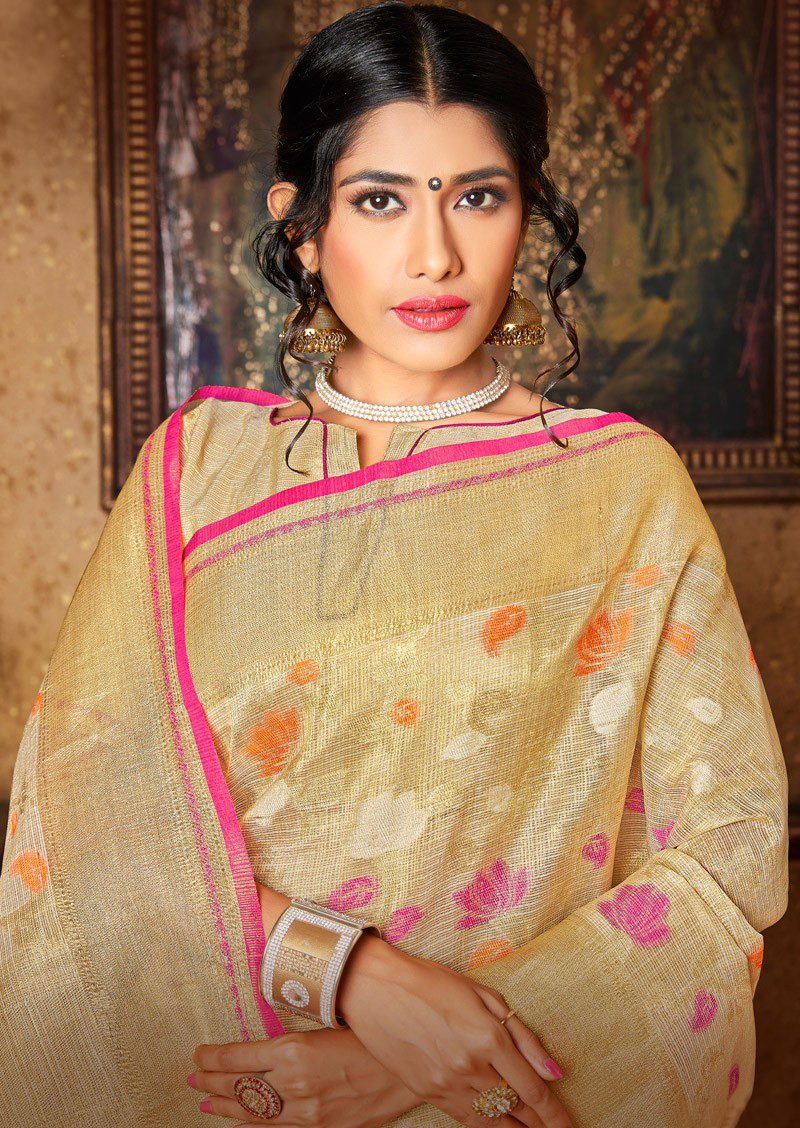Admirable Golden Banarasi Silk Woven Saree