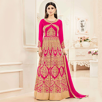 Pink Heavy Embroidered Anarkali Suit