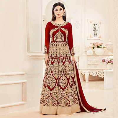 Maroon Heavy Embroidered Anarkali Suit