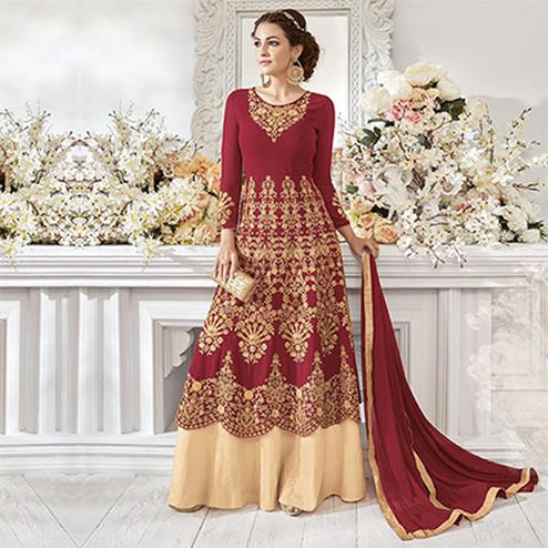 Hot Red Georgette & Net Designer Anarkali Suit