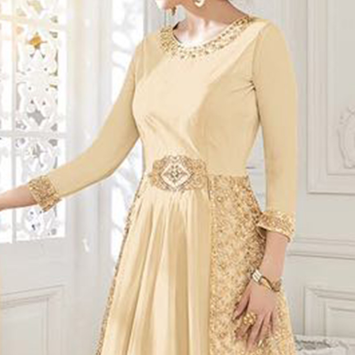 Beautiful Beige Georgette & Net Anarkali Suit