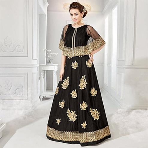 Black Cape Style Georgette & Net Designer Anarkali Suit