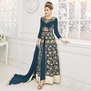 Adorable Teal Green Georgette & Net Designer Party Wear Suit