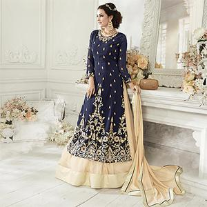 Beautiful Navy Designer Embroidered Georgette & Net Partywear Suit