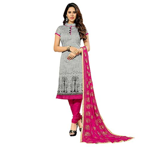 Grey - Pink Printed Work Salwar Suit