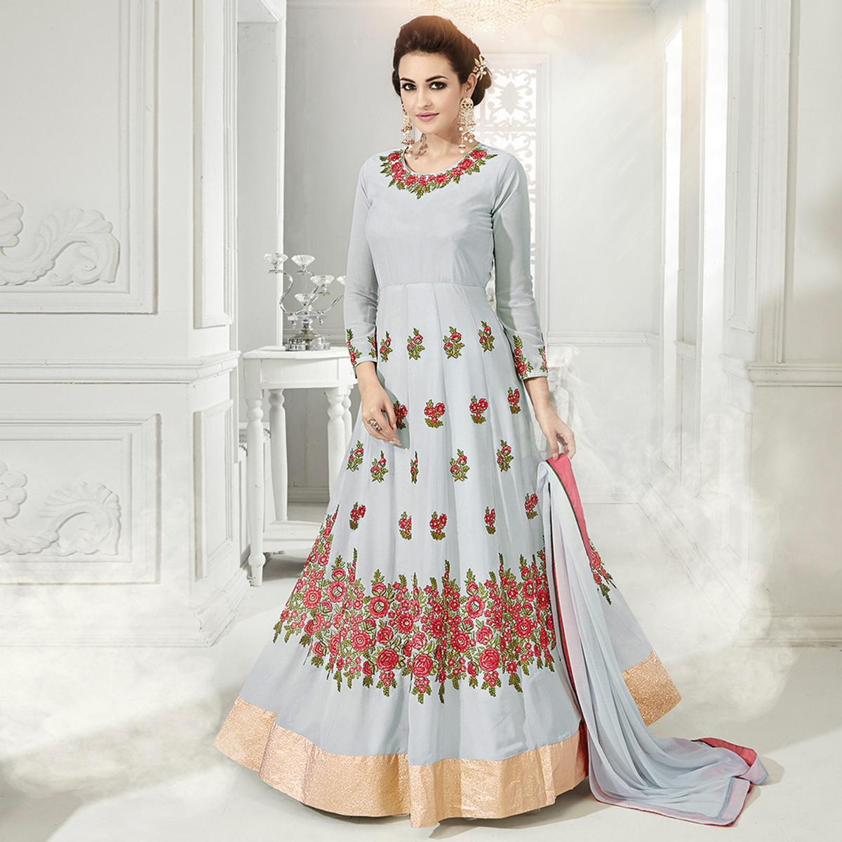 Gorgeous Grey Designer Embroidered Georgette & Net Anarkali Suit