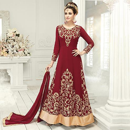 Classy Maroon Designer Embroidered Georgette & Net Anarkali Suit