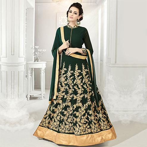 Delightful Green Designer Embroidered Georgette & Net Anarkali Suit