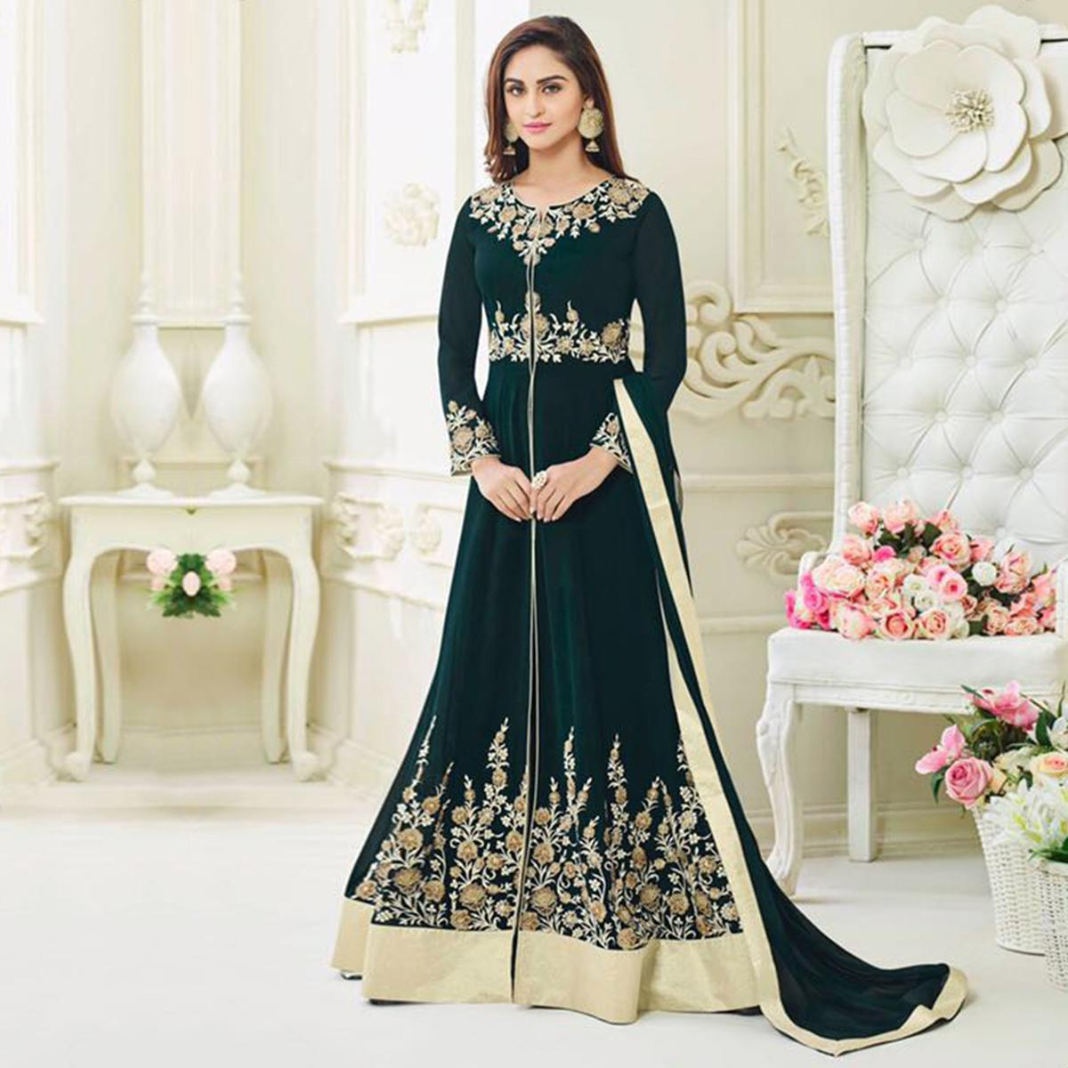 Elegant Teal Green Embroidered Anarkali Suit