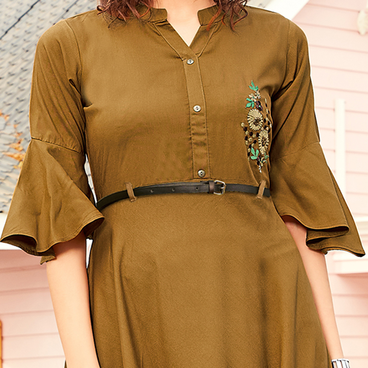 Attractive Brown Colored Casual Wear Floral Embroidered Rayon Kurti