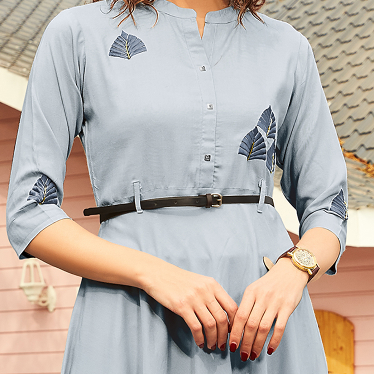 Beautiful Light Grey Colored Casual Wear Floral Embroidered Rayon Kurti