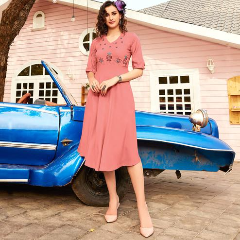 Blooming Pink Colored Casual Wear Floral Embroidered Rayon Kurti