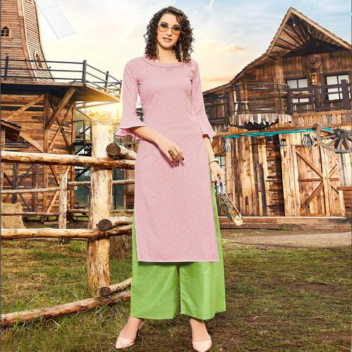 Jazzy Pink Colored Casual Wear Jacquard Butti Silk Kurti-Palazzo Set