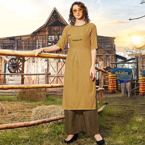 Delightful Brown Colored Casual Wear Jacquard Butti Silk Kurti-Palazzo Set