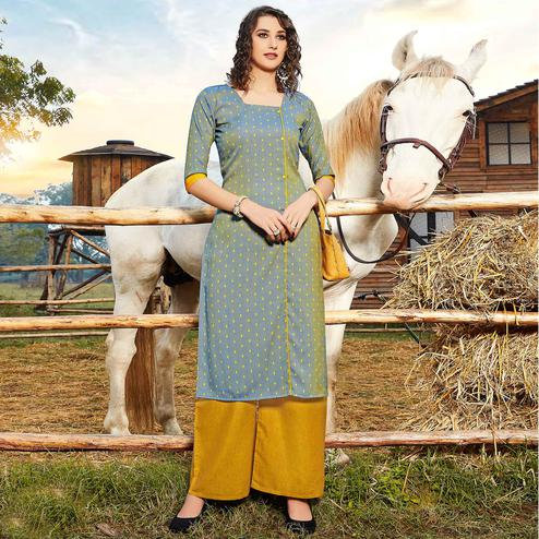Engrossing Grey Colored Casual Wear Jacquard Butti Silk Kurti-Palazzo Set
