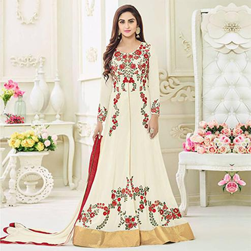 Mesmerising Off-White Designer Embroidered Anarkali Suit