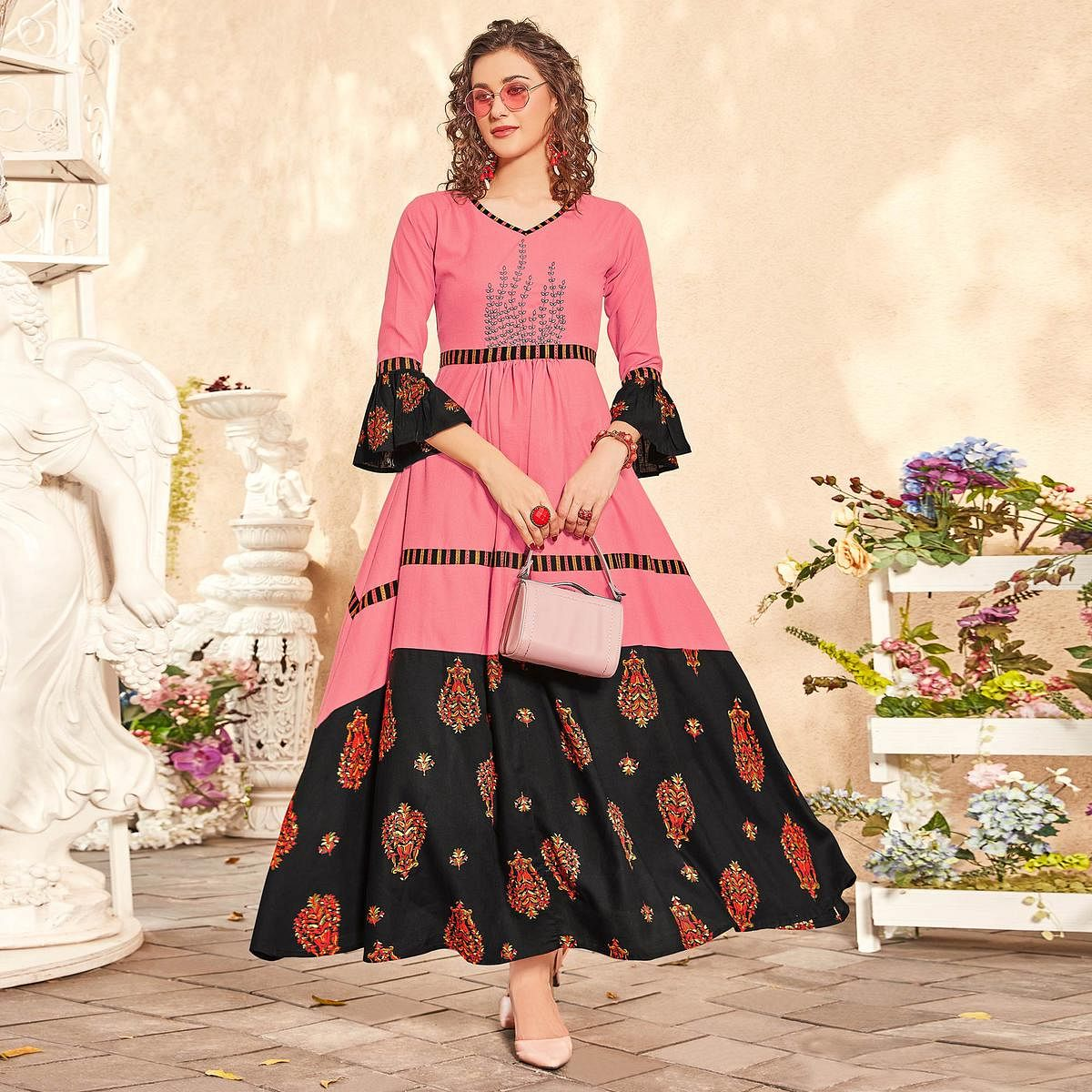 Fantastic Pink Colored Partywear Floral Printed-Embroidered Rayon Gown