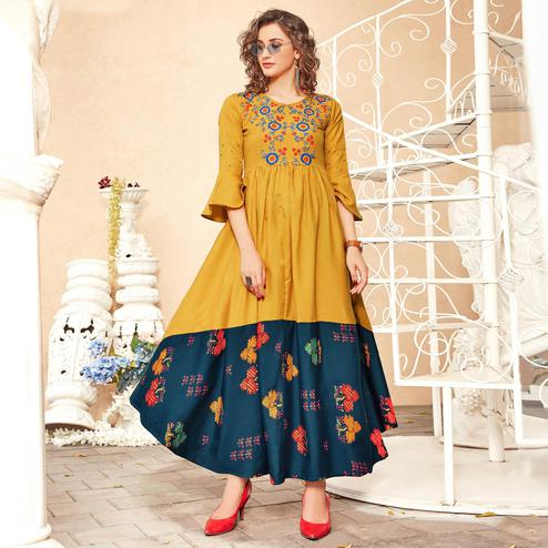 Blissful Mustard Yellow Colored Partywear Floral Embroidered-Printed Rayon Gown