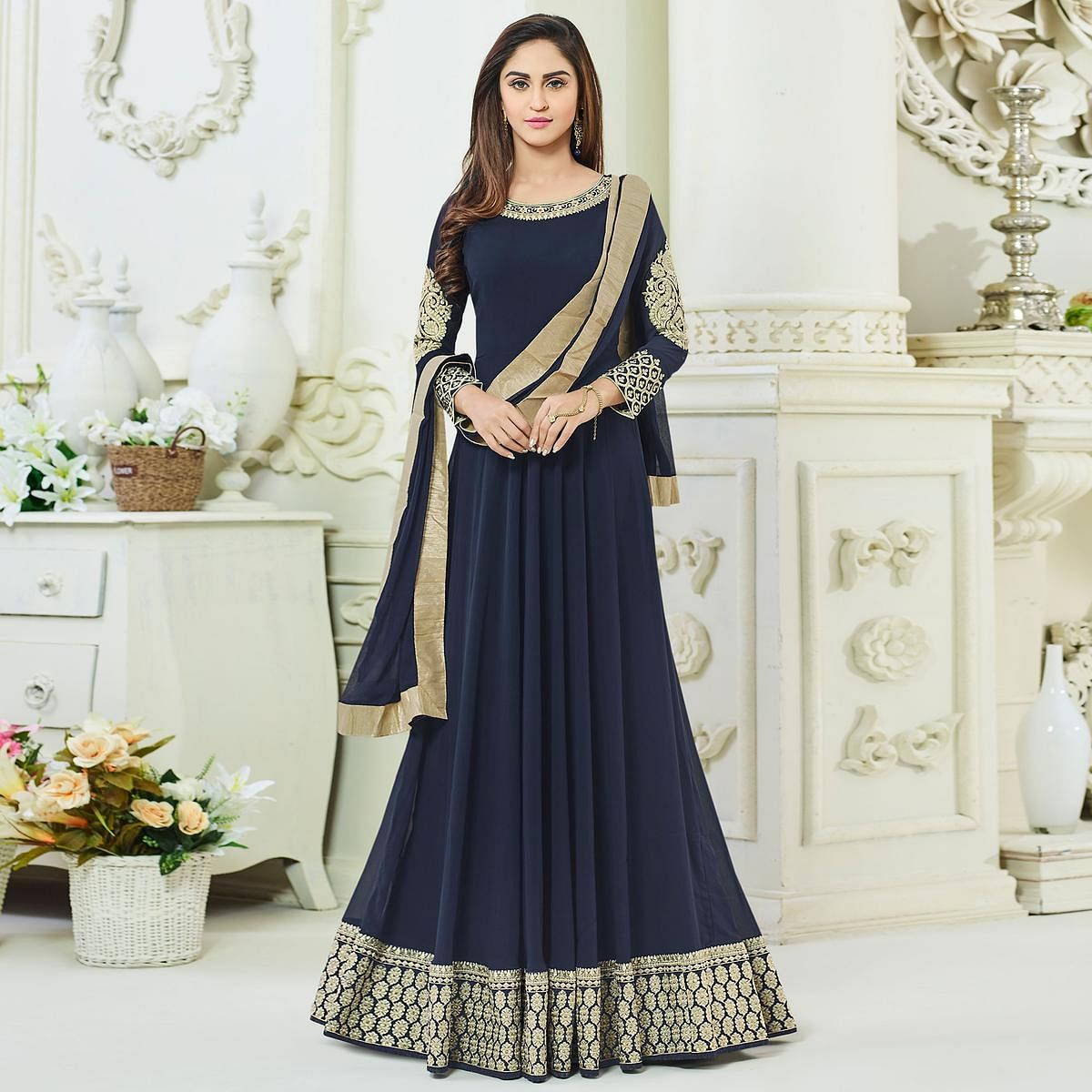 Gorgeous Navy Georgette & Net Designer Anarkali Suit