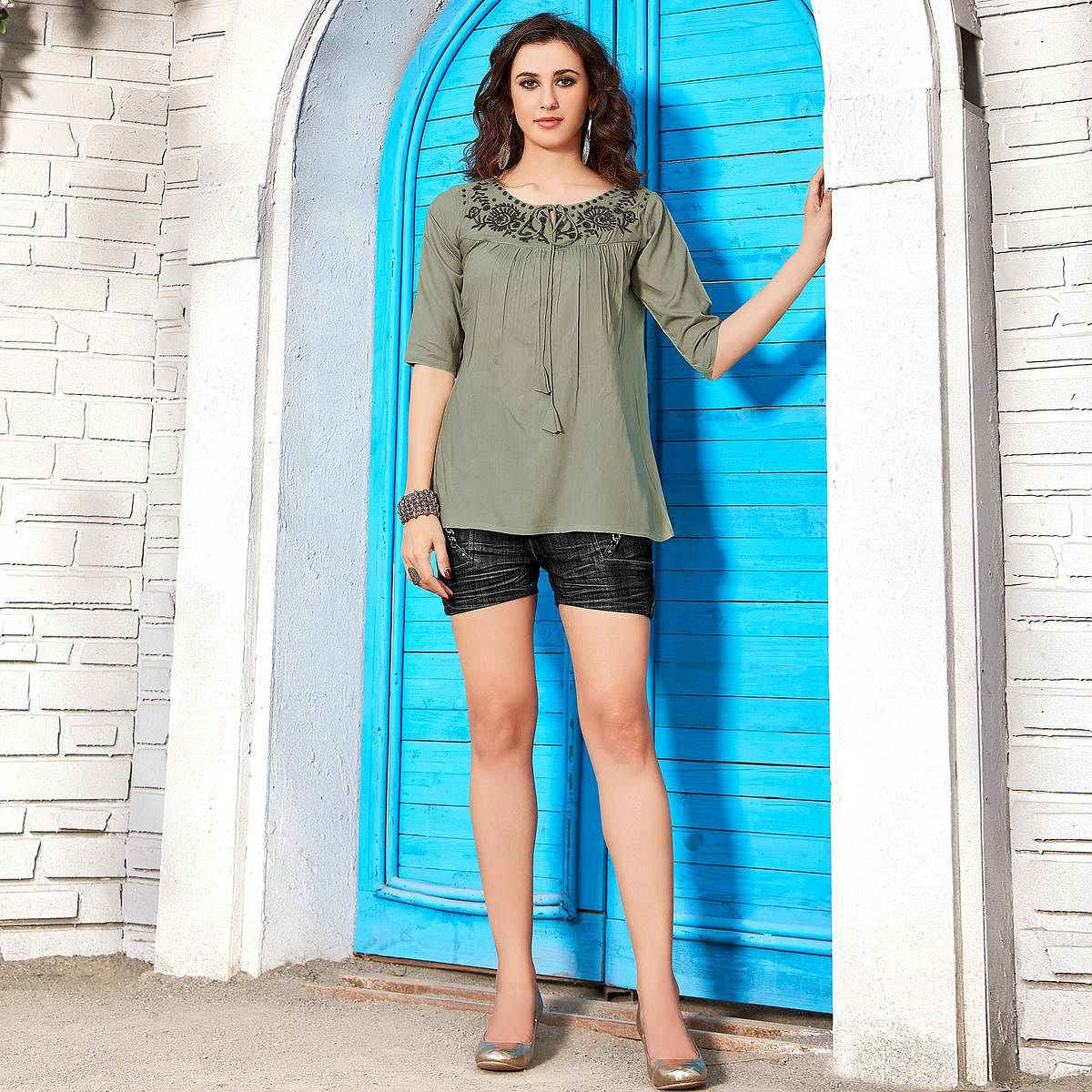 Impressive Pastel Olive Green Colored Casual Wear Floral Embroidered Rayon Top