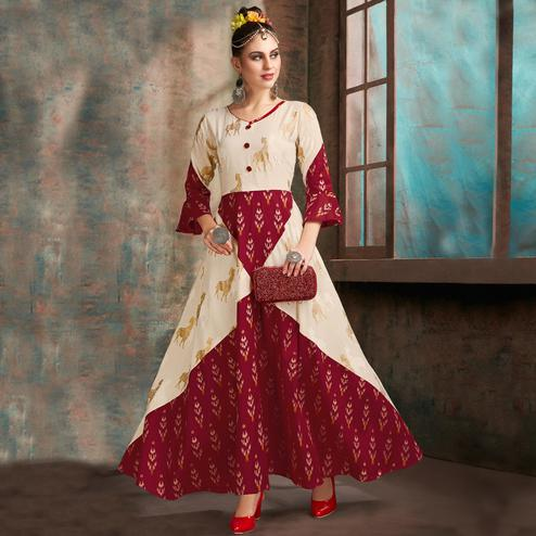 Ravishing Cream-Maroon Colored Partywear Printed Cotton Gown