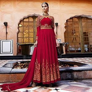 Hot Red Designer Embroidered Georgette Anarkali Suit