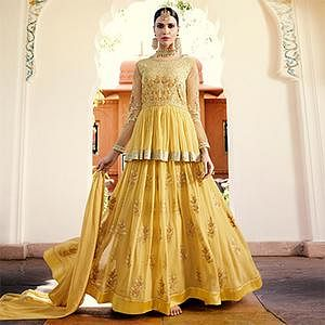 Modish Yellow Designer Embroidered Georgette Anarkali Suit