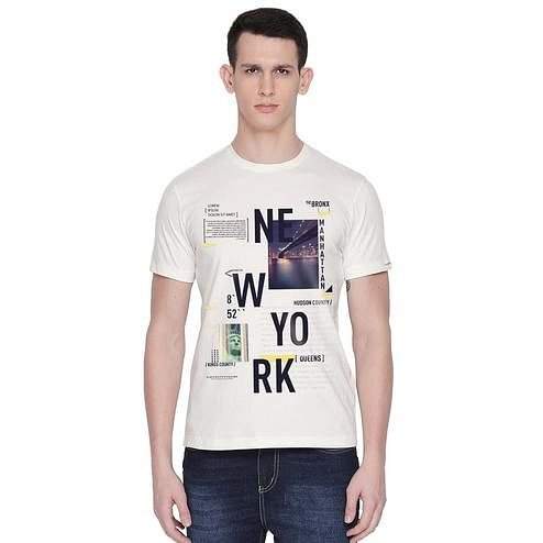 THREADCURRY - White Colored NEW YORK   Cityscape Urban Travel USA New York NYC Creative Cotton Graphic Printed T-shirt for Men