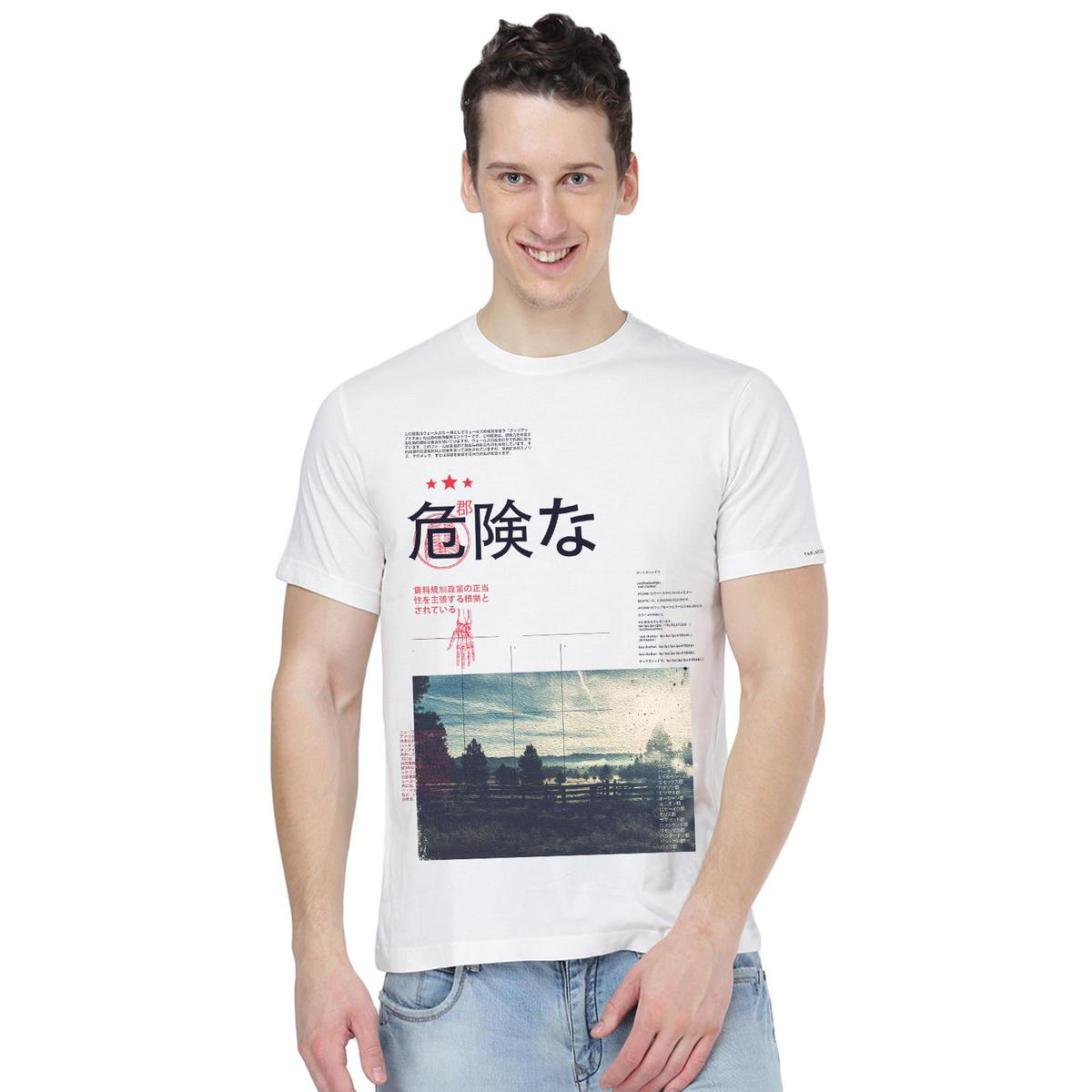 THREADCURRY - White Colored Travel Escapes | County Travel Japanese Creative Cotton Graphic Printed T-shirt for Men