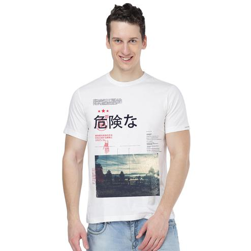 THREADCURRY - White Colored Travel Escapes   County Travel Japanese Creative Cotton Graphic Printed T-shirt for Men