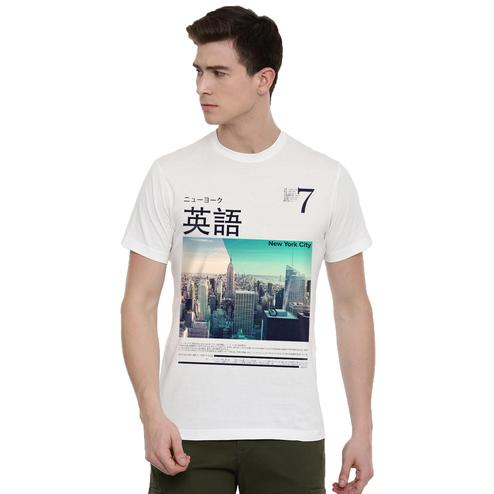 THREADCURRY - White Colored NYC 7   Cityscape Urban Travel USA New York NYC Creative Cotton Graphic Printed T-shirt for Men