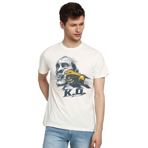 THREADCURRY - White Colored K.O   Boxing Martial Art Fight Sport Creative Cotton Graphic Printed T-shirt for Men