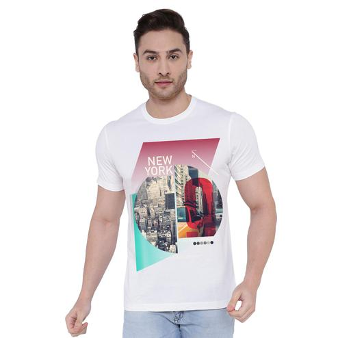 THREADCURRY - White Colored New York 9   Cityscape Urban Travel USA Newyork NYC Creative Cotton Graphic Printed T-shirt for Men