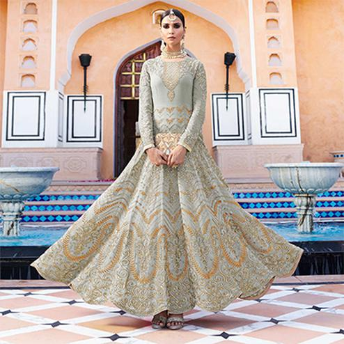 Graceful Grey Designer Embroidered Georgette Anarkali Suit