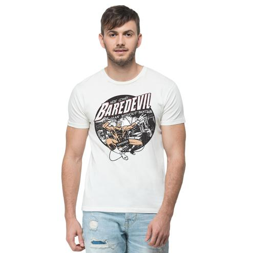 THREADCURRY - White Colored Baredevil   Superhero Comic Funny Spoof Cotton Printed Creative T-shirt for Men