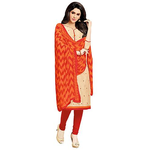 Beige - Red Embroidered Work Salwar Suit