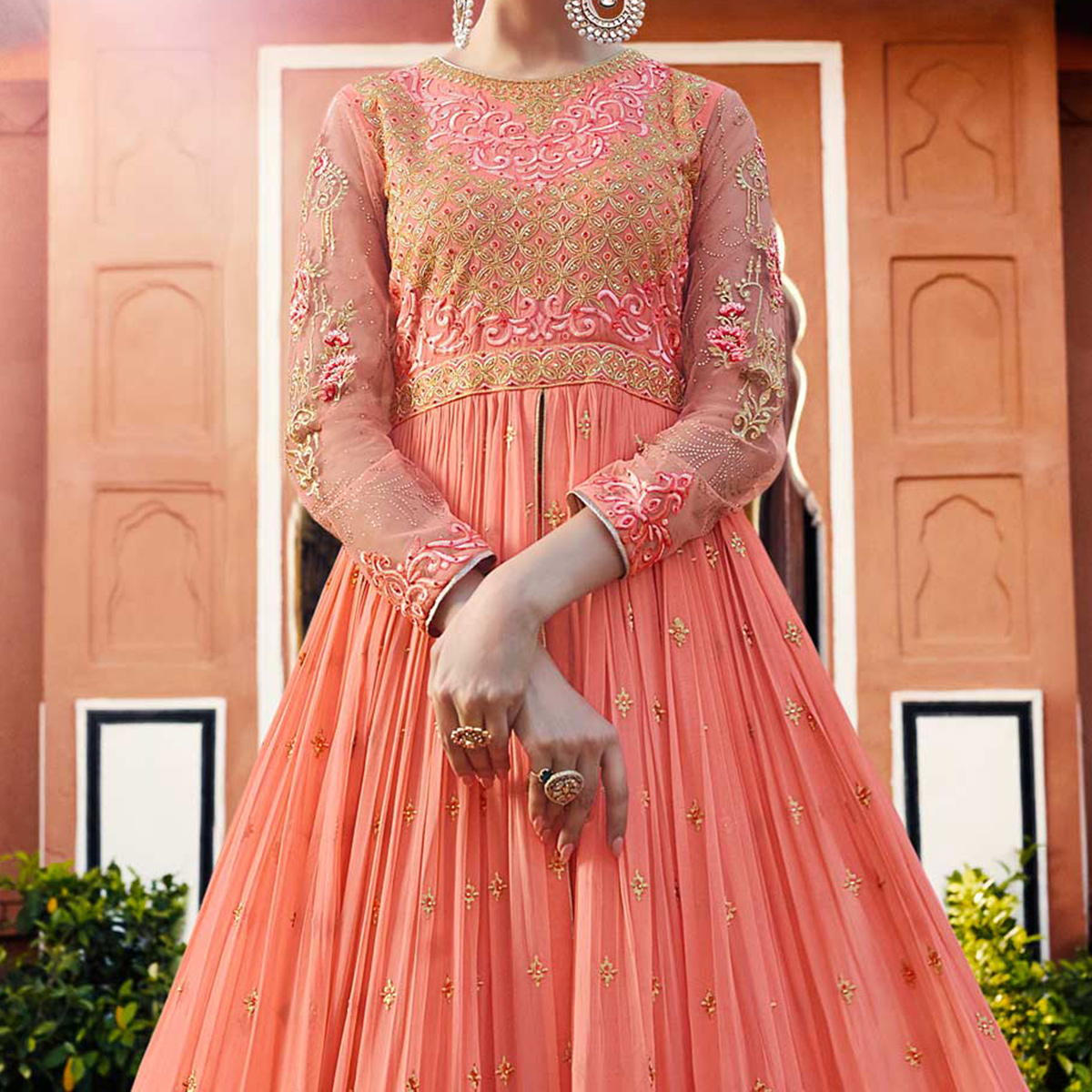 Ravishing Peach Designer Embroidered Georgette Anarkali Lehenga Suit