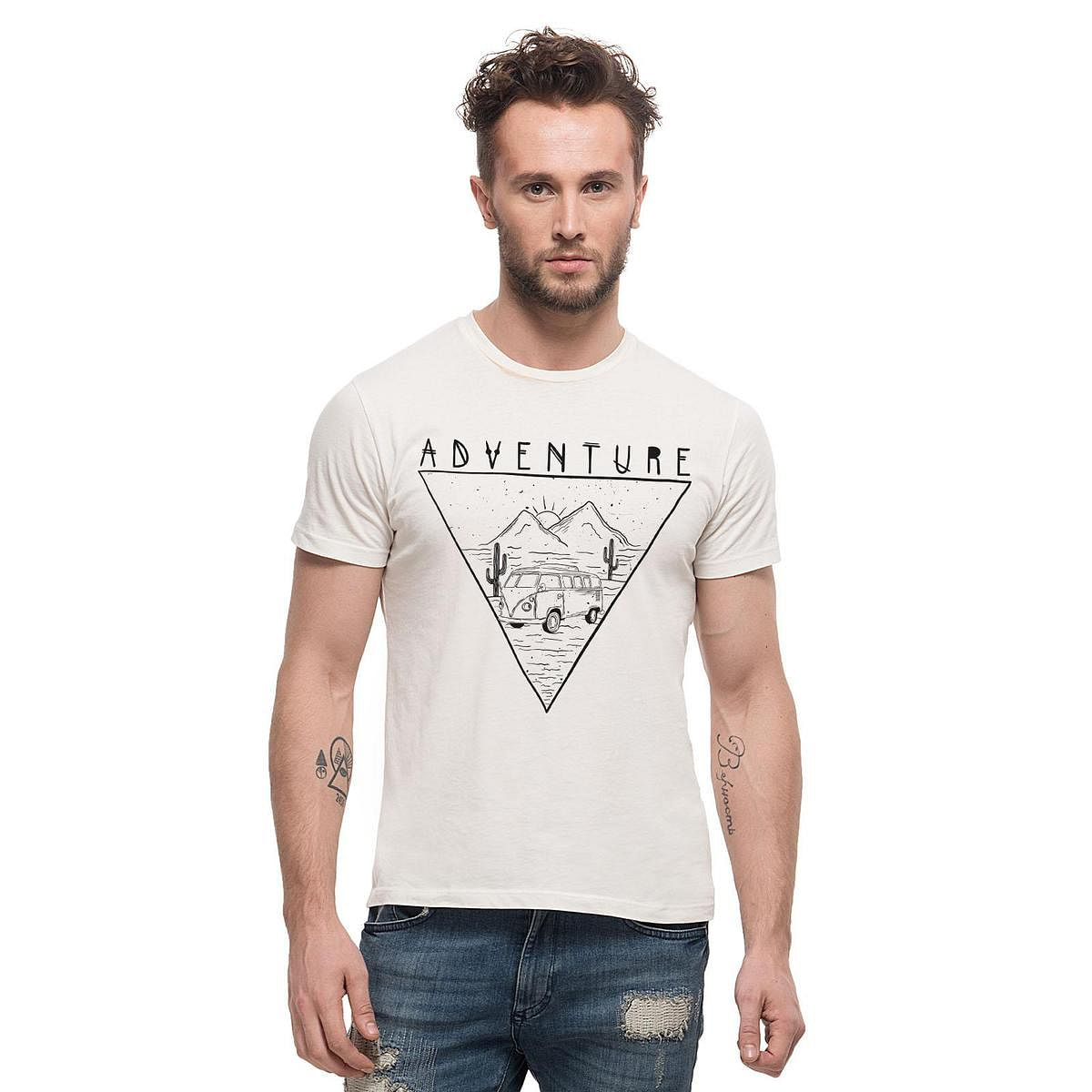 THREADCURRY - White Colored Adventure   Travel Inspirational Motivational Quote Cotton Printed Creative T-shirt for Men