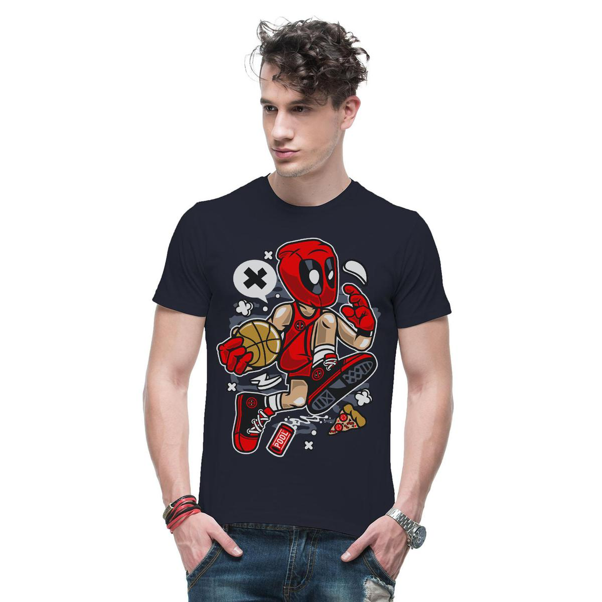 THREADCURRY - Navy Blue Colored Basketball Superhero   Comic Funny Spoof Character Cotton Printed Creative T-shirt for Men